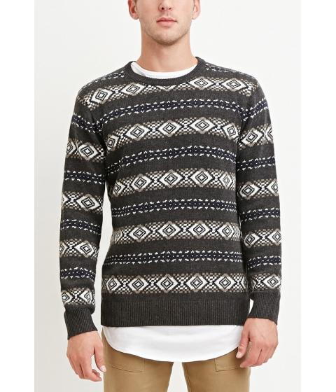 Imbracaminte Barbati Forever21 Geo-Striped Sweater Greywhite