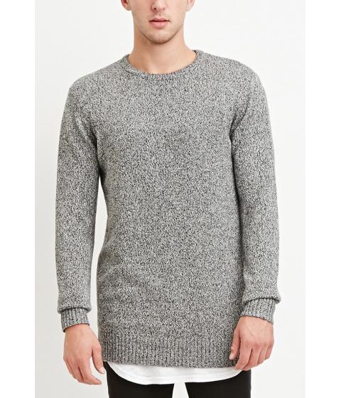 Imbracaminte Barbati Forever21 Vented-Hem Marled Sweater Blackcream