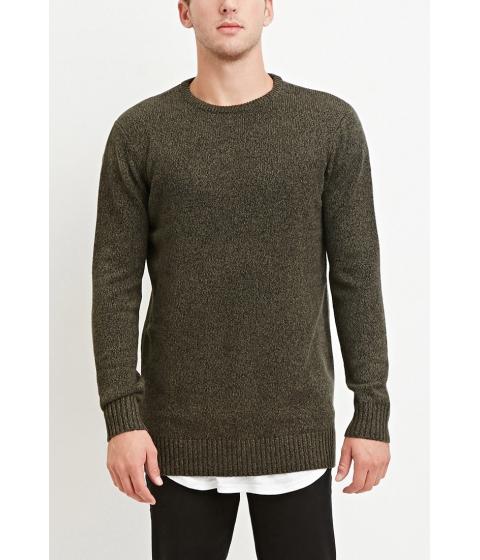 Imbracaminte Barbati Forever21 Vented-Hem Marled Sweater Oliveblack