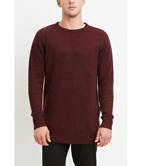 Imbracaminte Barbati Forever21 Vented-Hem Marled Sweater Burgundyblack