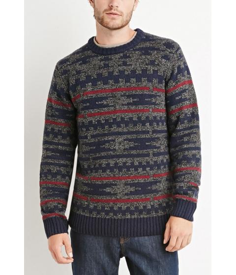 Imbracaminte Barbati Forever21 Marled Geo Pattern Sweater Charcoal heatherburgundy