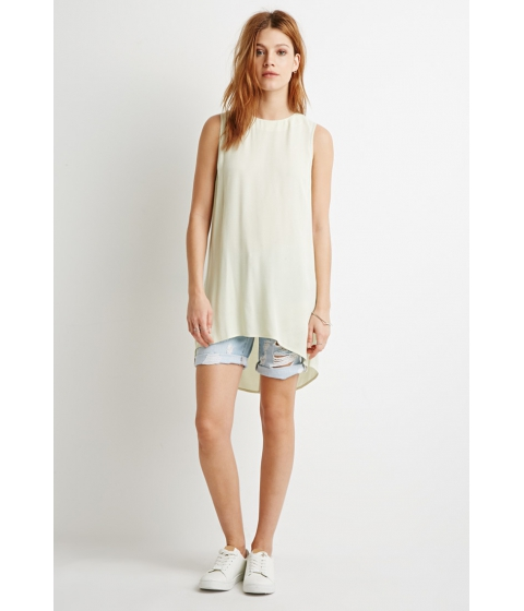 Imbracaminte Femei Forever21 Contemporary Side-Slit Textured Tunic Light green