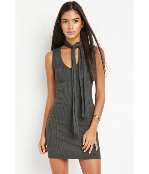 Imbracaminte Femei Forever21 Contemporary Self-Tie Collar Ribbed Dress Charcoal