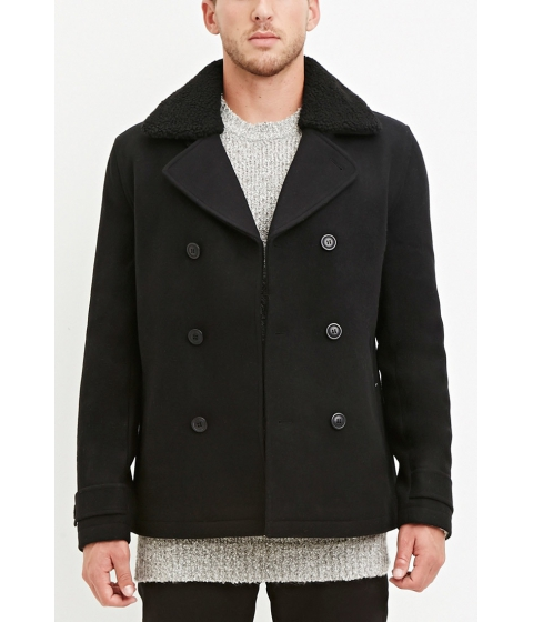 Imbracaminte Barbati Forever21 Faux Shearling Collar Coat Black