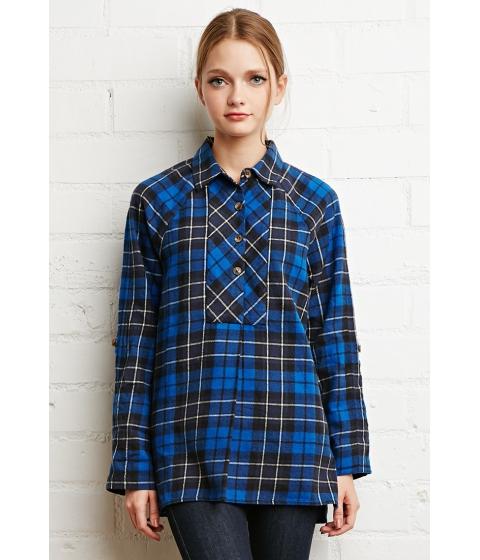 Imbracaminte Femei Forever21 Oversized Plaid Flannel Top Blueblack