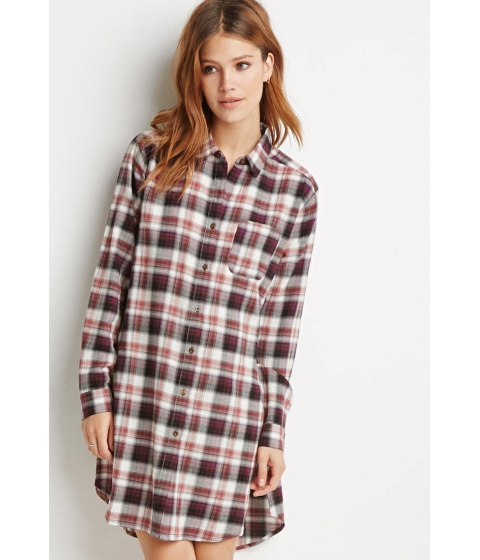 Imbracaminte Femei Forever21 Contemporary High-Slit Plaid Flannel Tunic Violetrust