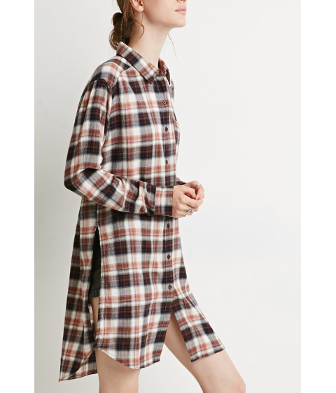 Imbracaminte Femei Forever21 Contemporary High-Slit Plaid Flannel Tunic Navyrust