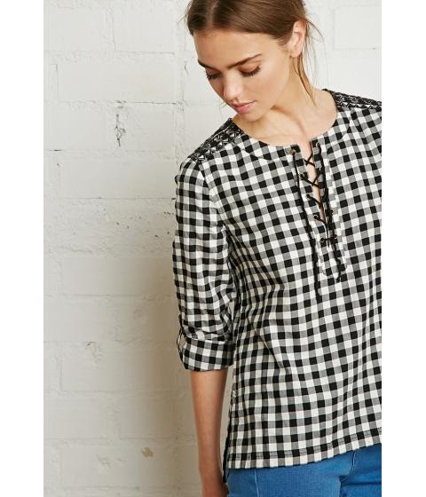 Imbracaminte Femei Forever21 Plaid Lace-Up Shirt Blackcream