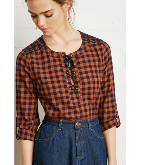 Imbracaminte Femei Forever21 Plaid Lace-Up Shirt Navyrust