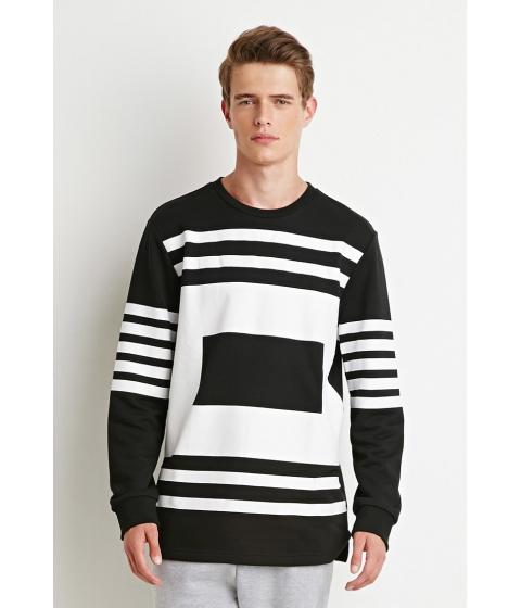 Imbracaminte Barbati Forever21 Striped Box Print Sweatshirt Blackwhite