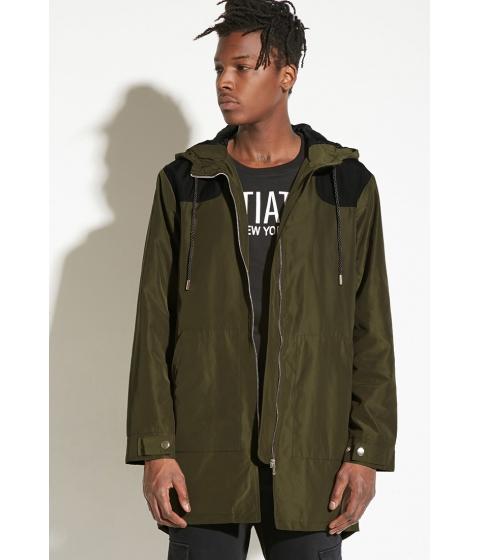 Imbracaminte Barbati Forever21 INTD Longline Hooded Jacket Oliveblack
