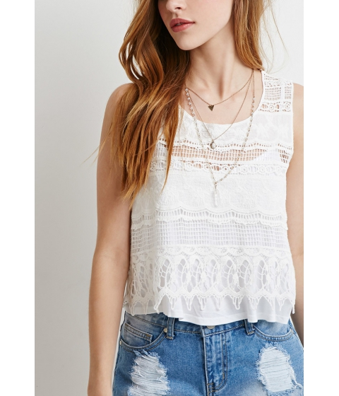 Imbracaminte Femei Forever21 Crocheted-Front Top Cream