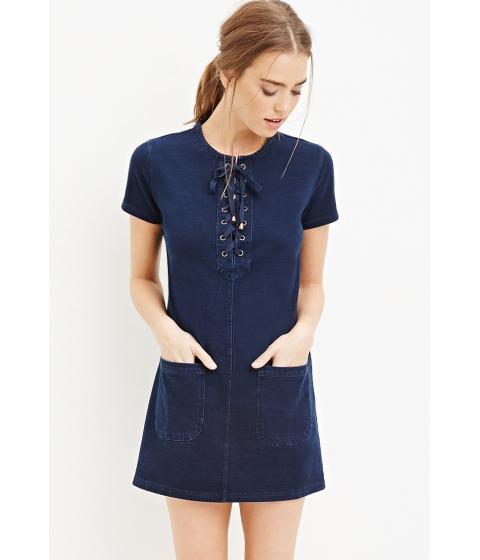 Imbracaminte Femei Forever21 Lace-Up Shift Dress Indigo