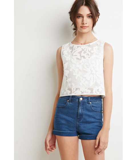 Imbracaminte Femei Forever21 Faux Leather-Embroidered Mesh Top White