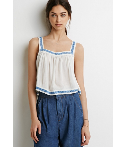 Imbracaminte Femei Forever21 Embroidered-Trim Top Creamblue