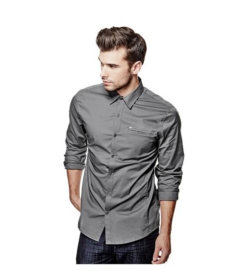 Imbracaminte Barbati GUESS Cowan Slim-Fit Shirt grey steel