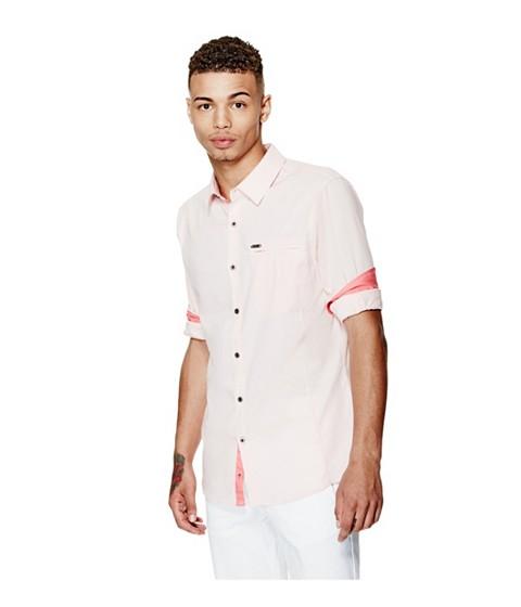Imbracaminte Barbati GUESS Cowan Slim-Fit Shirt pink palm tree