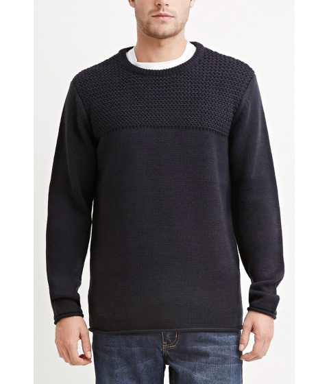 Imbracaminte Barbati Forever21 Mixed Knit Sweater Navy