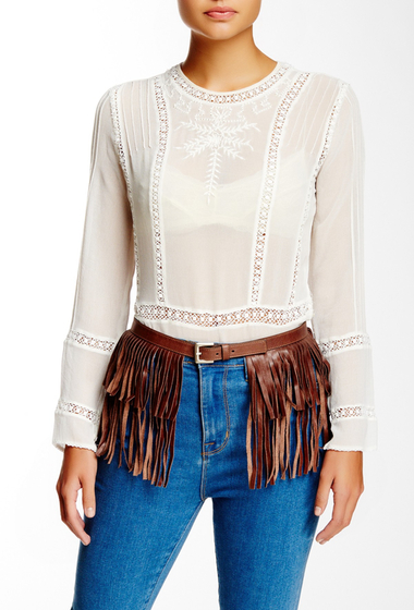Accesorii Femei Streets Ahead Italian Leather Fringe Belt brown