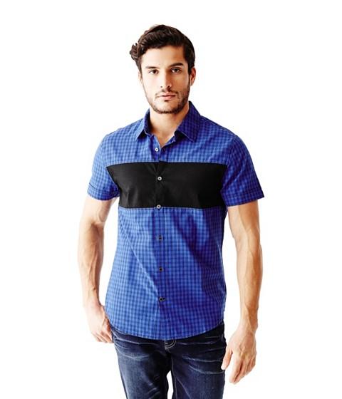 Imbracaminte Barbati GUESS Onisim Short-Sleeve Grid Shirt blue
