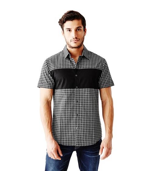 Imbracaminte Barbati GUESS Onisim Short-Sleeve Grid Shirt jet black