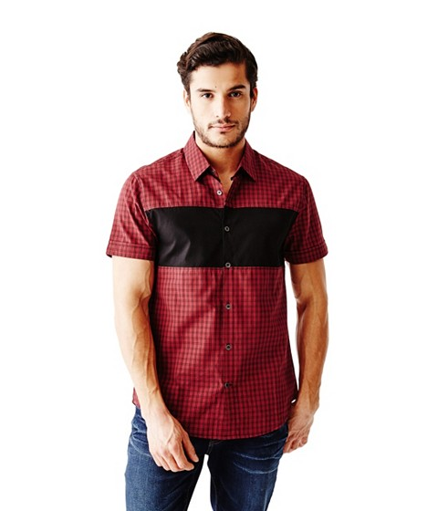 Imbracaminte Barbati GUESS Onisim Short-Sleeve Grid Shirt red sea