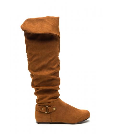 Incaltaminte Femei CheapChic Cuff Love Slouchy Faux Suede Boots Chestnut