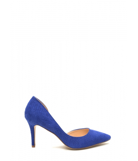 Incaltaminte Femei CheapChic Going Halfsies Pointy Reptile Pumps Navy