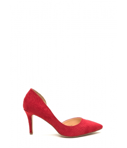 Incaltaminte Femei CheapChic Going Halfsies Pointy Reptile Pumps Red