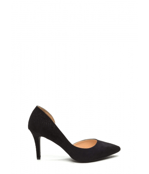 Incaltaminte Femei CheapChic Going Halfsies Pointy Reptile Pumps Black