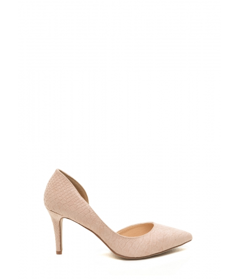 Incaltaminte Femei CheapChic Going Halfsies Pointy Reptile Pumps Nude