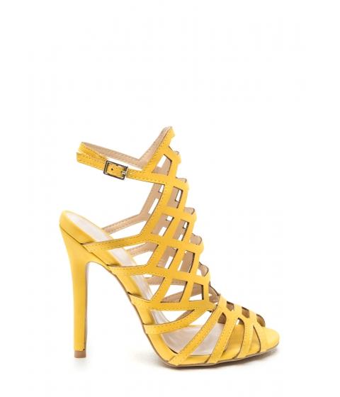 Incaltaminte Femei CheapChic Latticed 'n Laddered Strappy Heels Yellow