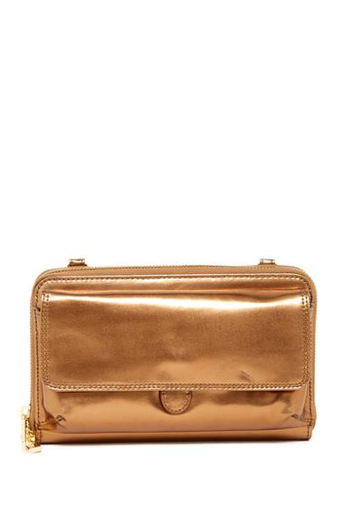 Accesorii Femei Hobo Abrielle Leather Crossbody Wallet MIRROR BRONZE
