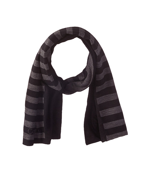 Accesorii Barbati Calvin Klein Logo Stripe Muffler BlackCharcoal Grey