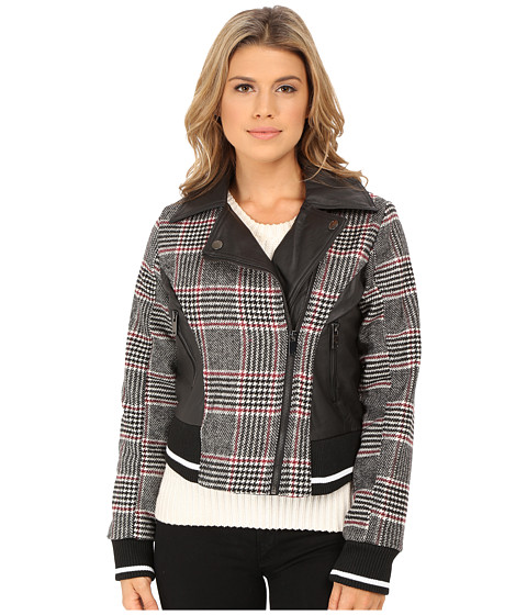 Imbracaminte Femei dollhouse Asymetric Zip Baseball Jacket w Striped Knit Trim Norah Plaid