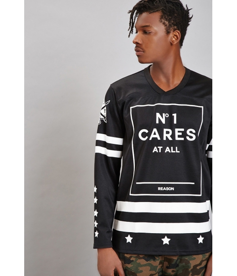 Imbracaminte Barbati Forever21 Reason N 1 Cares Hockey Jersey Blackwhite