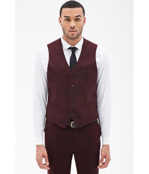Imbracaminte Barbati Forever21 Satin-Back Suit Vest Burgundy