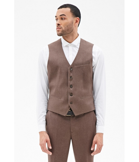 Imbracaminte Barbati Forever21 Satin-Back Suit Vest Taupe