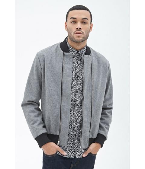 Imbracaminte Barbati Forever21 Wool-Blend Bomber Jacket Grey