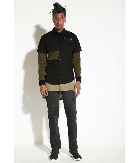 Imbracaminte Barbati Forever21 INTD Layered Colorblock Shirt Oliveblack