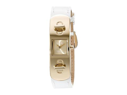 Ceasuri Femei COACH Swagger Leather Strap Watch GoldWhite