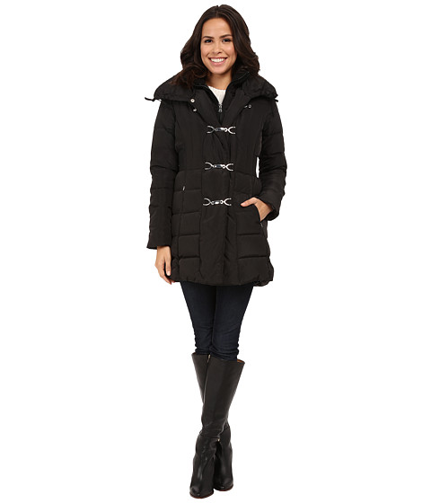 Imbracaminte Femei Jessica Simpson Long Clip Toggle Down Coat with Bib and Knit Collar Black