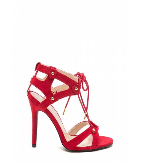 Incaltaminte Femei CheapChic Cut It Out Faux Suede V-strap Heels Red
