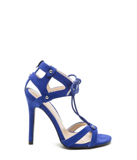 Incaltaminte Femei CheapChic Cut It Out Faux Suede V-strap Heels Cobalt