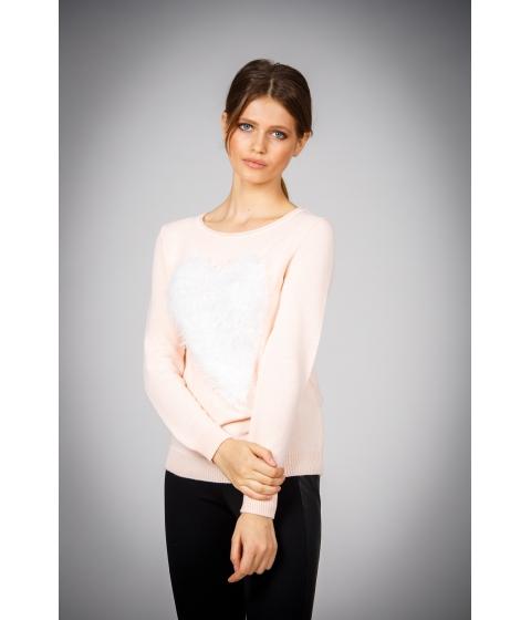 Imbracaminte Femei Be You Pulover femei roz pal cu inima pufoasa Multicolor
