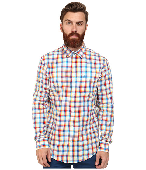 Imbracaminte Barbati Original Penguin Medium Size Plaid Long Sleeve Woven Heritage Shirt Bright White