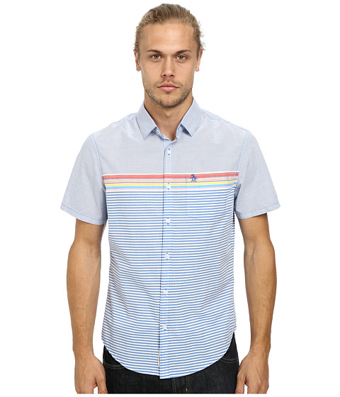 Imbracaminte Barbati Original Penguin P55 Engineered Stripe Woven Short Sleeve Heritage Shirt Skydiver