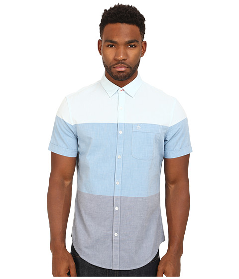 Imbracaminte Barbati Original Penguin Color Blocked Oxford Woven Short Sleeve Heritage Shirt Vallarta Blue