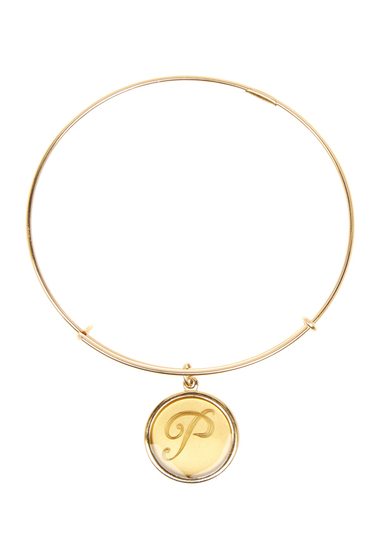 Bijuterii Femei Alex and Ani 14K Gold Filled Initial P Charm Wire Bangle RUSSIAN GOLD