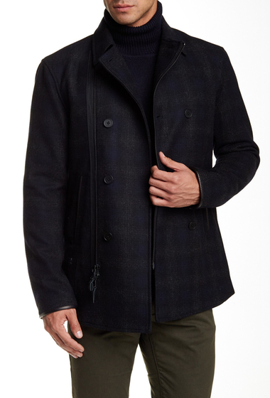 Imbracaminte Barbati Star USA By John Varvatos Leather Trimmed Double Breast Peacoat CHARCOAL